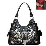 Concealed Carry Western Buckle Cut Out Design Shoulder Bag-Black